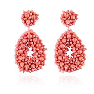 Fashion Statement Beaded Hoop Earrings for Women Handmade Bohemia Beads Drop Earrings, Idea Gift for Mom, Sister and Friends, for Valentine Day (Pink)