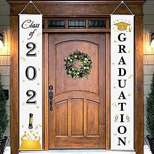 Graduation Porch Sign - Class of 2021 & Congrats Graduation Hanging Banner Set For Outdoor/Indoor Home Front Door Wall Graduation Party Decorations