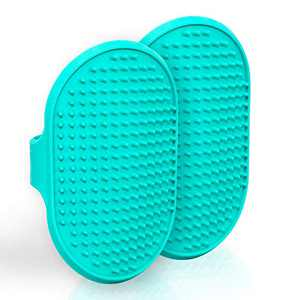 Lillian Ruff Dog Bath Brush - 2 Pack of Flexible Rubber Dog Shower Brush with Adjustable Strap - Soothing Massage Bristles Produce More Lather, Reduce Bath Time, Remove More Dirt & Loose Hair (Teal)
