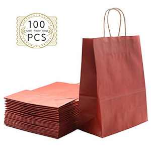 Haiquan 100Pcs Red Kraft Paper Bags 8 x 4.75 x 10 inchs Recycled Bags Bulk with Handles for Shopping, Packaging, Wedding, Retail, Party, Gifts