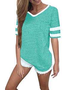 Womens Short Sleeve Top Women Summer Tops Casual Short Sleeve T-Shirts (S, Mint Green)