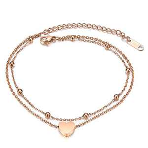 Fesciory Women Stainless Steel Anklet Rose Gold Adjustable Beach Ankle Foot Chain Bracelet Jewelry Gift(Heart)