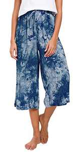 Urban CoCo Womens Comfy Solid Tie-Dye 3/4 Lounge Pants (M, Navy Blue)