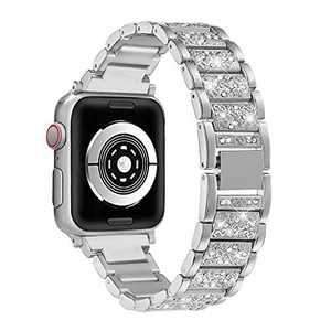 hooroor Bling Bands Compatible Apple Watch Band 38mm 40mm Series 4/3/2/1, Stainless Steel Metal Rhinestone Jewelry Bangle Bracelet Wristband Strap for Iwatch Bands (Silver-38mm 40mm)