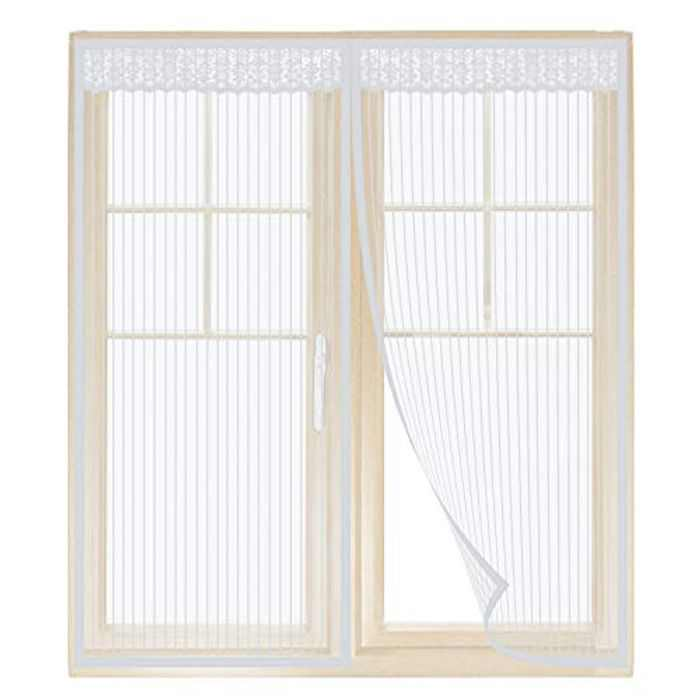 Anpro Magnetic Fly Screen for Window Mesh (130 x150cm), Mosquito Insects Window Screen, Window Fly Screen net with Self-Adhesive Tape (White)