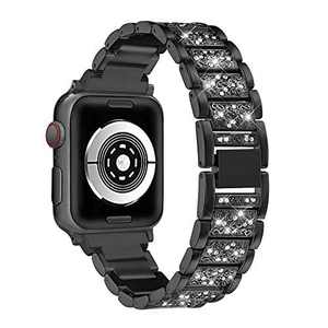hooroor Bling Bands Compatible Apple Watch Band 38mm 40mm Series 4/3/2/1, Stainless Steel Metal Rhinestone Jewelry Bangle Bracelet Wristband Strap for Iwatch Bands (Black-38mm 40mm)