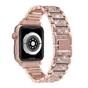 hooroor Bling Bands Compatible Apple Watch Band 42mm 44mm Series 4/3/2/1, Stainless Steel Metal Rhinestone Jewelry Bangle Bracelet Wristband Strap for Iwatch Bands (Gold-42mm 44mm)
