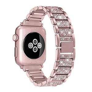 hooroor Bling Bands Compatible Apple Watch Band 38mm 40mm Series 4/3/2/1, Stainless Steel Metal Rhinestone Jewelry Bangle Bracelet Wristband Strap for Iwatch Bands (Rose Gold-38mm 40mm)
