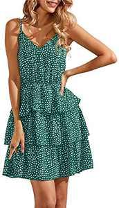 Geckatte Womens Sleeveless Boho V Neck Sundress Polka Dot High Waist Babydoll Swing Party Mini Short Dress Green