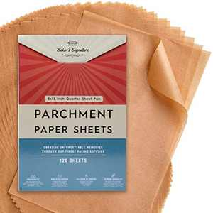 Quarter Sheet Pans 8x12 Inch Pack of 120 Parchment Paper Baking Sheets by Baker's Signature | Precut Silicone Coated & Unbleached – Will Not Curl or Burn – Non-Toxic & Comes in Convenient Packaging