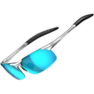 ATTCL Men's Mirrored Driving Polarized Sunglasses for Men Al-Mg metal Frame 8177-Silver-BLUE