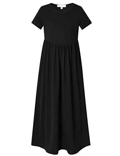 Perfashion Girl Maxi Dresses 7-16 Summer Short Sleeve Pleated Crew Neck Solid Black Dress