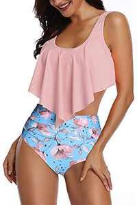 Women High Waisted Swimsuit Flounce Swimwear Racerback Vintage Two Piece Bikini (Pink Flower,L)