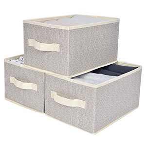 GRANNY SAYS Closet Organizer Bins, Small Canvas Storage Baskets, Stackable Storage Bins for Shelves, Beige, 3-Pack