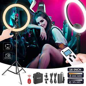 Neewer Advanced 16-inch LED Ring Light Support Manual Touch Control with LCD Screen, Remote and Multiple Lights Control, 3200-5600K, Stand Included for Makeup YouTube Video Blogger Salon (Black)