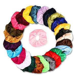 Velvet Hair Scrunchies with Elastic - Weicai 26 Colors Cute Scrunchies for Birthday Gifts for Women or Girls or Mom (Relive the 80s/90s Fashion)