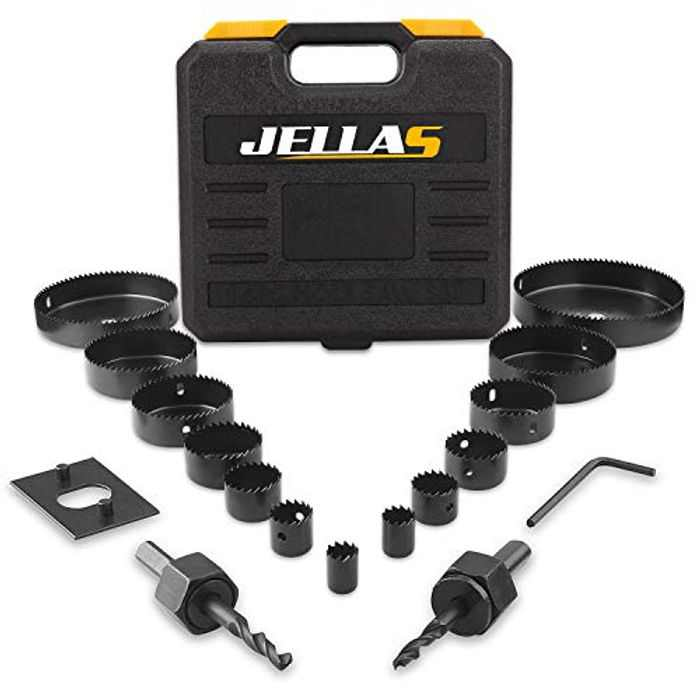 Hole Saw Kit, JELLAS 19Pcs 19mm-127mm Hole Cutter Set(Include 25 and 38mm) in Hard Box, 2 Mandrels, 1 Installation Plate, 1 Hex Key, Durable and Cut Precise Holes for Soft Wood, PVC Board and Plastic