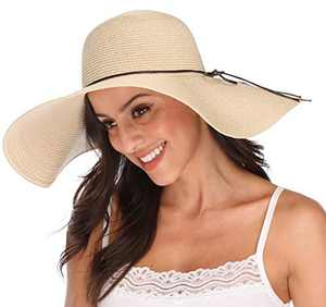 Lanzom Womens Big Bowknot Straw Hat Large Floppy Foldable Roll up Beach Cap Sun Hat UPF 50+ (X-Beige)