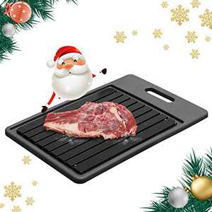 GEMITTO Rapid Defrosting Tray, Thawing Plate for Faster Defrosting Frozen Food, Defrost Plate with Hole for Easily Hanging, Quicker Safer Way to Defrost Meat Pork Beef Fish (Black)