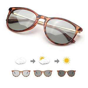 TJUTR Women's Photochromic Polarized Sunglasses for Driving, Classic Retro Round Eyewear 100% UV Protection Reduce Fatigue (Leopard Frame/Photochromic Lens)