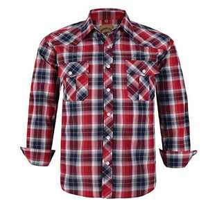 Coevals Club Men's Western Cowboy Long Sleeve Pearl Snap Casual Plaid Work Shirts (Red Black #24 L)