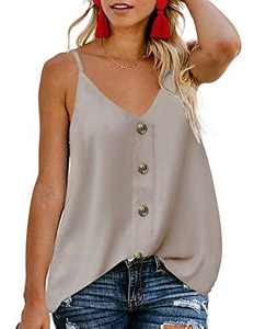 TECREW Women's Button Down V Neck Spaghetti Straps Tank Top Casual Sleeveless Summer Shirts Blouse