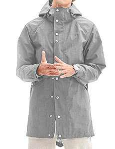 Men Travel Rain Jackets Long Hood Raincoat Waterproof Rain Trench Coat Grey 2XL