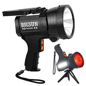 BIGSUN Rechargeable Spotlight, LED Flashlight High Lumens 1000000 Candlepower, 10800mAh Power Bank, With Red Lens, Side Floodlamp & Red Blue Warning Lamp for Home Security, Camping, Hunting, Car, Boat