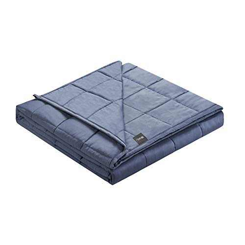 ZonLi Cooling Bamboo Weighted Blanket 12 lbs(48''x72'' Grey Navy, Twin), Summer Bamboo Weighted Blanket for Adult Beads