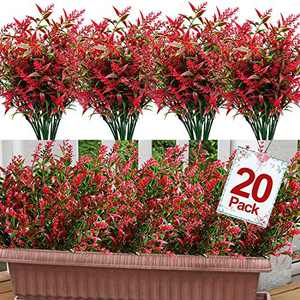 GBD 20 Bundles Lavender Artificial Flowers Outdoor UV Resistant Flowers Plastic Fake Flowers Plants for Outside, Artificial Flowers Faux Plants for Window Box Hanging Planter Home Porch(Red)
