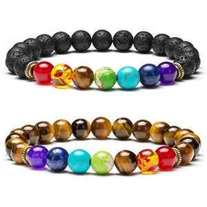 Qceasiy Men Women 8MM Lava Rock 7 Chakra Bracelet Essential Oil Anti-Anxiety Yoga Bead Bracelet(Set 3)