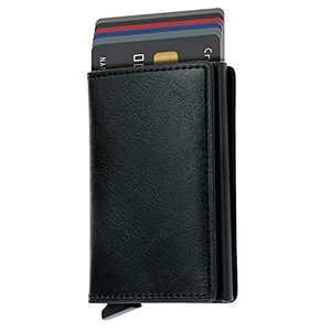 Credit Card Holder RFID Blocking Genuine Leather Vintage Aluminum Business Wallet (C-Black)