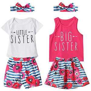 Aslaylme Matching Sister Little Sister Bodysuit Floral Stripe Short Set (White,3-6 Months)