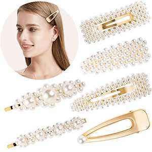 Souarts 6PCS Pearl Hair Clips for Women Girls, Styling Hair Pins, Pearl Hair Barrettes, Wedding Bridal Hair Accessories (Gold)