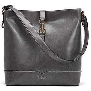 Handbags for Women Oil Wax Leather Purses Designer Bucket Tote Vintage Ladies Top Handle Fashion Shoulder Bag Gray