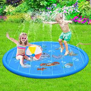 """Sprinkle & Splash Play Mat - 68"""" Water Sprinkler, Kiddie Outdoor Outside Water Pool Toys for Toddlers Kids Children Infants Boys and Girls - Perfect Inflatable Outdoor Summer Water Toys Sprinkler pad"""