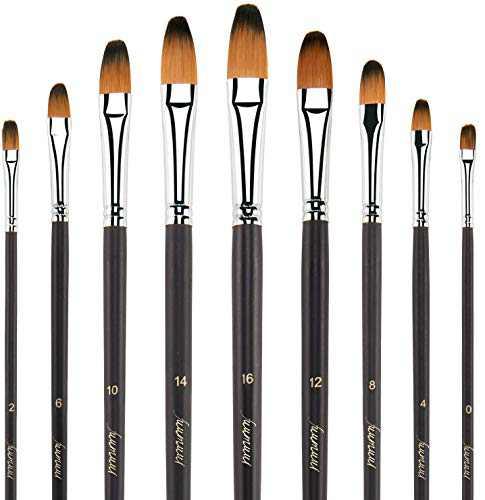 Filbert Paint Brushes, Fuumuui 9pcs Professional Artist Filbert Brushes Long Handle Perfect for Acrylic Oil Watercolor Gouache Painting