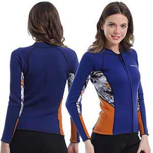 Womens Wetsuit Top, 2mm Zip Wetsuit Jacket Long Sleeve for Canoeing Sea Kayaking Snorkeling Diving Water Aerobics (Womens Wetsuit Top, 2XL)