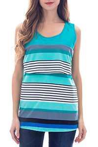 Smallshow Women's Maternity Nursing Tank Tops Stripe Pull-up Breastfeeding Shirt Medium SVP092