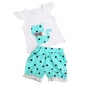 Toddler Kids Baby Girls Outfits Clothes T-Shirt Vest Tops+Shorts Pants 2PCS Set(Blue, 6-12Months)