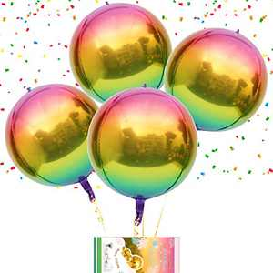 """Eanjia Rainbow Ombre 4D Gradient Color Foil Round Balloons 4pcs 16"""" Hangable Sphere Shaped Balloon Aluminum Mylar Helium Balloons for Baby Shower Dance Wedding Birthday Party Decorations"""