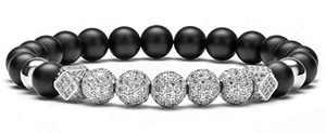 Hamoery Graduation Gifts for Him 8mm Black Matte Charm Bracelet for Men Women Silver Zircon Accessories Beads Bracelet(Silver Ball)