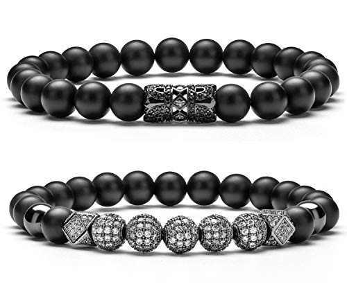 Hamoery Graduation Gifts for Him 8mm Black Matte Charm Bracelet for Men Women Black Zircon Accessories Beads Bracelet(Black Set)