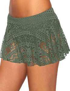 XAKALAKA Women's Lace Crochet Skirted Bikini Bottom Swimsuit Short Skirt Swimdress Green L
