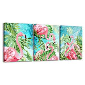 3 Piece Flamingo Wall Art Boho Decor for Bedroom,Animal Picture Palm Green Tropical Plant Canvas Prints Framed Posters Hanging Artwok for Living Room Decoration (12x16inx3)