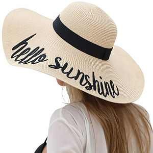 Lanzom Womens 5.5 Inches Big Bowknot Straw Hat Large Floppy Foldable Roll up Beach Cap Sun Hat UPF 50+ (Y-Hello Sunshine Beige)