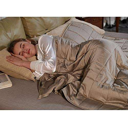 ZonLi Cooling Weighted Blanket 15 lbs(60''x80'' Khaki, Queen Size), Cool Summer Weighted Blanket for Adult, 100% Bamboo Viscose with Glass Beads