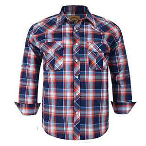 Coevals Club Men's Western Cowboy Long Sleeve Pearl Snap Casual Plaid Work Shirts (Red & Blue #15 XL)