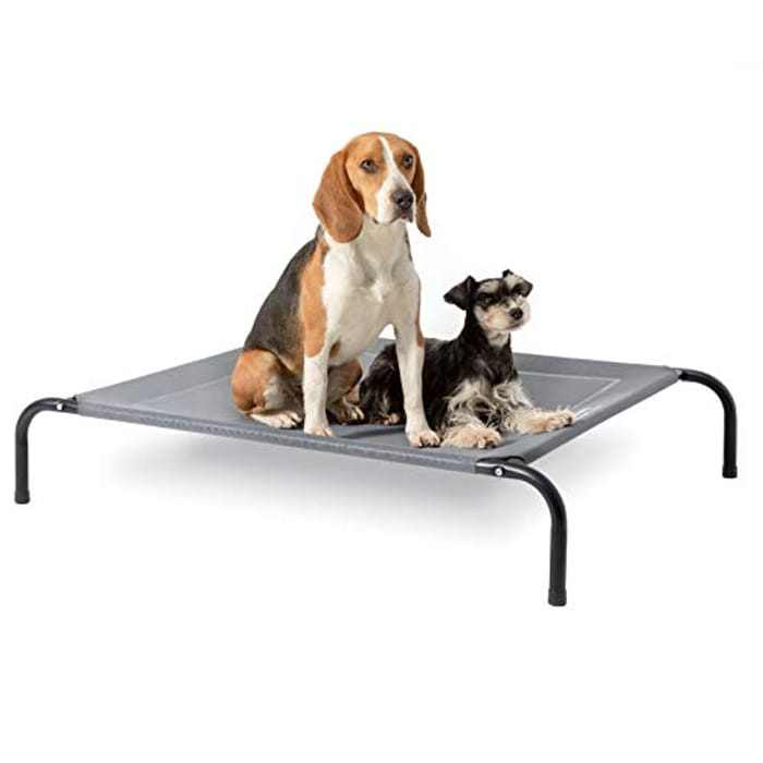 BEDSURE Elevated Dog Bed Medium - Raised Waterproof Dog Bed With Cooling Mesh,Outdoor for Travel and Garden, Grey, 91x79x20cm