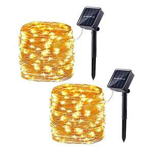 2 Pack Solar Fairy Lights Outdoor, Joomer 33ft/10m 100 LED 8 Modes Solar Powered String Lights Waterproof Garden Lights Copper Wire Lighting for Patio Yard Party Wedding Christmas(Warm White)